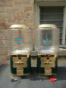 Vintage V line Double Head Lot 25 Gumball Candy Prize Vending Machine Green c