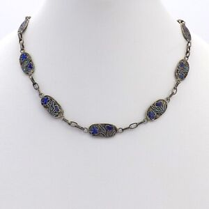 Antique Chinese Sterling Silver Blue Enamel Filigree Links Chain Necklace 18