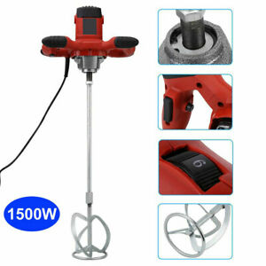Electric Mortar Mixer 1500w Dual High Low Gear 6 Speed Paint Cement Grout Ac110v