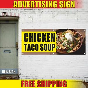 Chicken Taco Soup Advertising Banner Vinyl Mesh Decal Sign Indian Mexican Hot