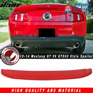 Fits 10 14 Mustang Gt V6 Gt500 Style Trunk Spoiler Painted Pq Race Red