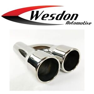 Exhaust Tip 2 25 In Inlet Dual 3 00 Dia Outlets 9 00 In Lg Stainless Reversible