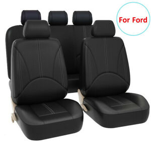 Universal 9pcs Black Leather Car Seat Covers Fit For Ford Fusion Escape Edge