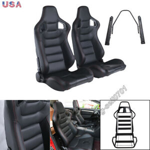 2pcs Car Racing Seats Leather Black 180 Reclinable Seats Universal W 2 Sliders