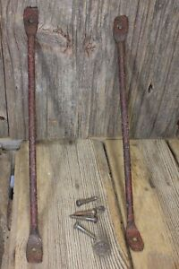 2 Old Shelf Supports Brackets 9 X 9 Rustic Wrought Iron Barn Red Vintage 1800 S