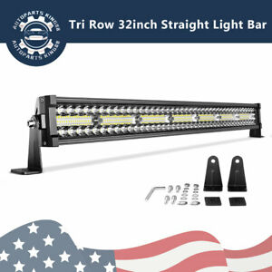 32inch Tri Row Led Work Light Bar Combo Flood spot Offroad Fit Jeep Offroad 4wd