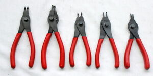 Snap On 5pc Snap Ring Pliers Set Srpc4700 Srpc3890 Srpc7090 Srpc3800 Srpc7000