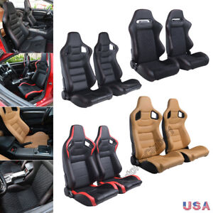 2pcs Racing Seats Reclinable Faux Leather Pair Euro Seats W 2 Sliders Universal