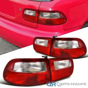 For Honda 92 95 Civic 3dr Hatchback Tail Lights Brake Stop Rear Lamps Red Clear