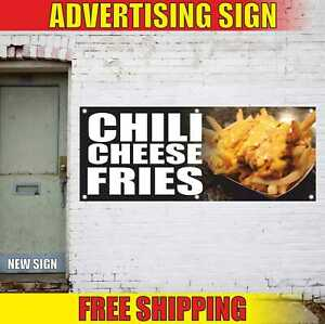 Chili Cheese Fries Advertising Banner Vinyl Mesh Decal Sign Deep Fried Nachos