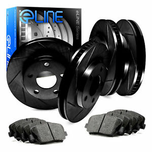 For 2004 Mercedes Benz E500 Front Rear Black Slotted Brake Rotors Ceramic Pads