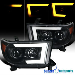 For 2007 2013 Tundra Sequoia Black Led Sequential Signal Projector Headlights