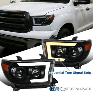 For 07 13 Tundra Sequoia Black Switchback Sequential Led Projector Headlights