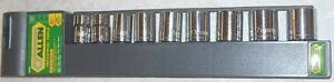 Allen 9pc Metric Socket Set 3 8 Drive 12pt Chrome Vandium 66640g