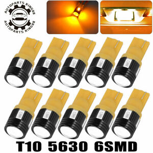 10x High Power T10 Wedge 5630smd Led Car Door Dome Light Bulb Amber Yellow 3000k