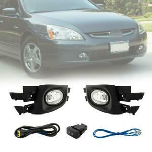 Fog Lights Pair Clear Lens Lamps Switch Harness For 03 05 Accord 4dr