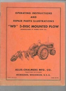 Allis chalmers Wd 3 disc Mounted Plow Operating Instructions Manual