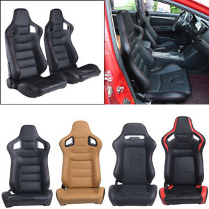 2x Car Racing Seats Reclinable Bucket Full Wrap Leather Seat 2 Sliders Universal