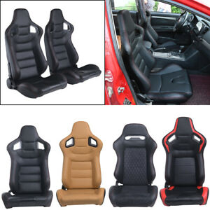 2xcar Racing Seats Reclinable Bucket Full Wrap Leather Seat 2 Sliders Universal