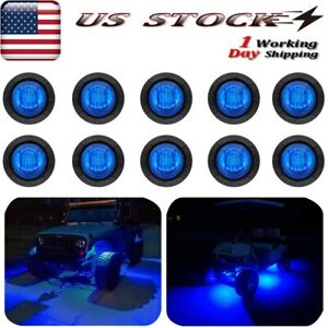 10x Round Blue Led Rock Lights For Jeep Offroad Truck Atv Utv 4x4 Boat Underbody