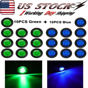 20x 3 4 Round Bullet Truck Trailer Led Side Marker Clearance Light Blue Green