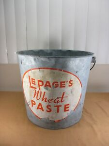 Vtg Canco Galvanized Metal Bucket Pail W Label Wire Handle Lepage Wheat Paste