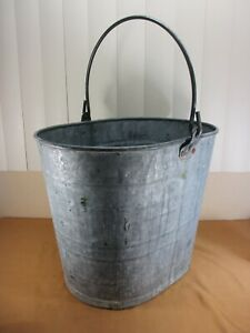 Vintage Galvanized Steel Oblong Bucket Pail W Thick Wire Handle By White Brand