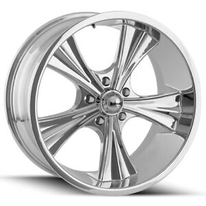 Staggered Ridler 651 Front 18x8 rear 18x9 5 5x127 5x5 0mm Chrome Wheels Rims