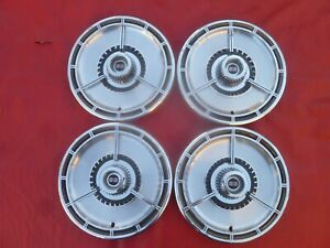 Vintage 1964 Chevy Impala Ss Nova Ss Three Bar Spinner Hubcaps Wheel Covers