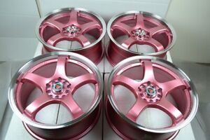 17 Pink Wheels Rims Civic Accord Corolla Matrix Celica Eclipse Tsx 5x100 5x114 3