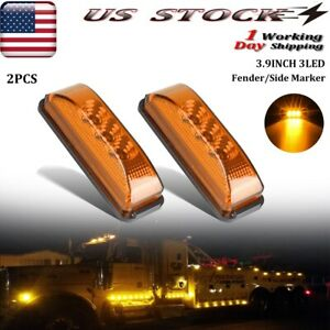 2x Amber 3 Led Side Marker Lights Truck Trailer Clearance Light Waterproof