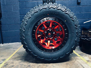 17x9 Fuel D695 Covert Red Wheels Rim 33 Mt Tires Package Jeep Wrangler Jk Jl