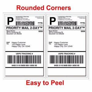 4000 Shipping Labels Rounded Corners 2 Per Sheet 8 5 X 11 Self Adhesive