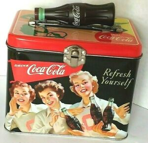 Coca Cola Collectables Tin Lunch Box Refresh Yourself Coke Bottle Handle Latch