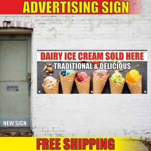 Dairy Ice Cream Sold Here Traditional Advertising Banner Vinyl Mesh Decal Sign
