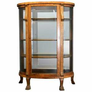 Antique R J Horner School Carved Oak Curved Glass Mirrored China Cabinet