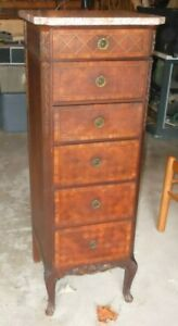Antique Six Drawer Cabinet Lingerie Chest W Marble Top