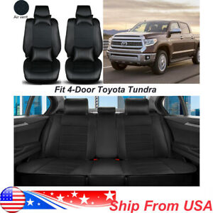 Leather 5 Seats Car Seat Cover For 4 Door Toyota Tundra 2007 2019 Black Cushion