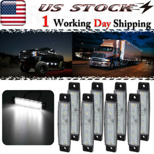 8x White 3 8 Led Side Marker Lights Truck Trailer Bus Clearance Light Waterproof