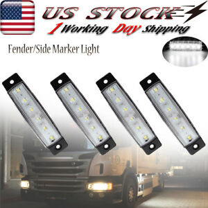 4x White Led Clearance Side Marker Lights For Truck Trailer Rv Bus Waterproof