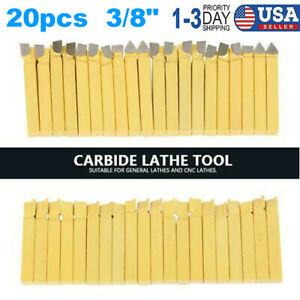 20 X 3 8 Carbide Tip Tipped Cutter Tool Bit Cutting Set For Metal Lathe Tooling