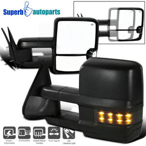 For 88 98 Tahoe C k 1500 2500 3500 Power Heat Tow Side Mirrors led Smoke Signal