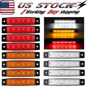 12x Red Amber White Side Clearance Truck Trailer Light Bar Led Marker Lights