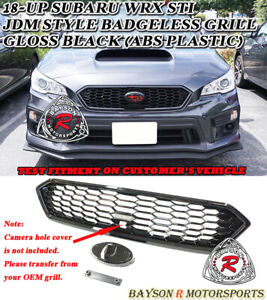Jdm style Badgeless Front Grille abs Gloss Black Fits 18 20 Subaru Wrx Sti
