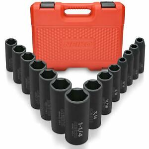 Neiko 1 2 Drive Deep Impact Socket Set 14 Piece 6 Point Standard Sae Sizes