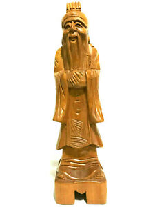 Asian Wood Hand Carved Old Man Figurine Wise Old Man 12 T 3 L 3 W