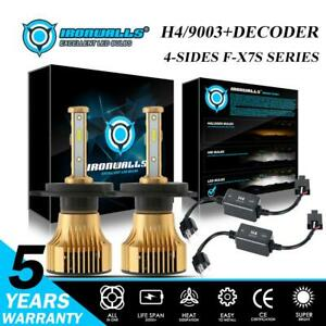 Ironwalls 4 side H4 9003 hb2 Led Headlight Bulbs Kit 2500w 6000k canbus Decoder