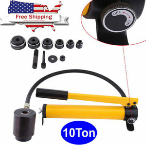 10 T Hydraulic Metal Hole Punch Knockout Set With 6 Dies Tool Hand Pump 22 60mm