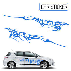 Blue 102 X 14 Car Body Decal Vinyl Graphics Decals Sticker Flame Side