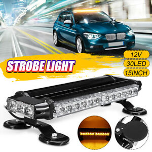 15 30w 30led Roof Strobe Light Bar Emergency Beacon Warning Flash Lamp Amber